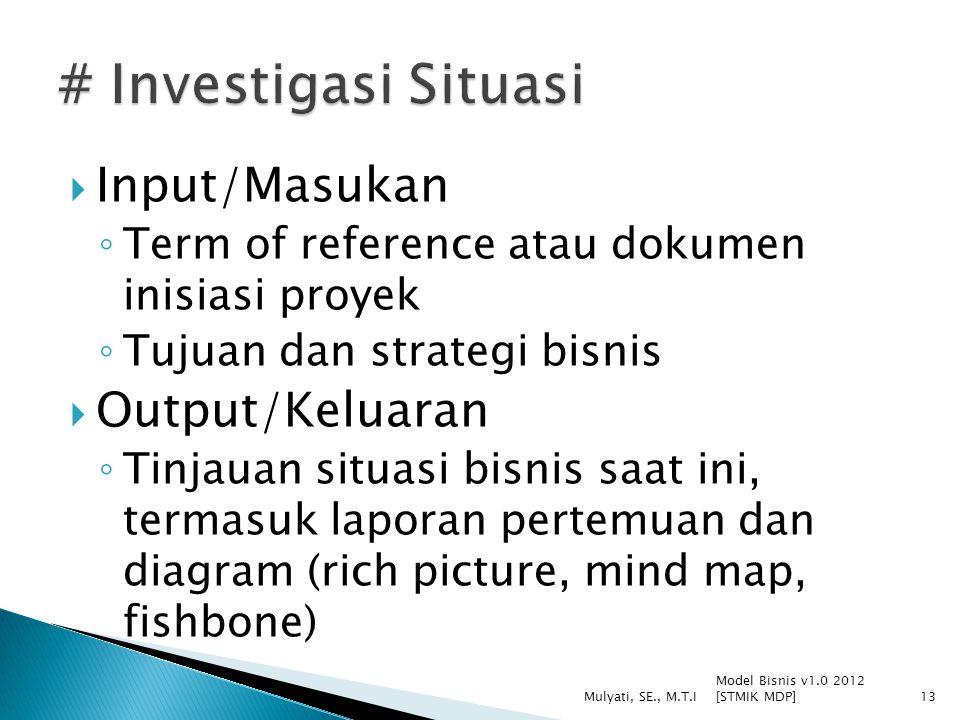 # Investigasi Situasi Input/Masukan Output/Keluaran