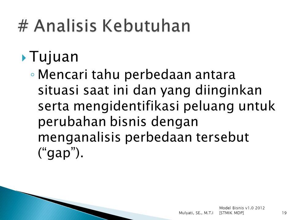 # Analisis Kebutuhan Tujuan