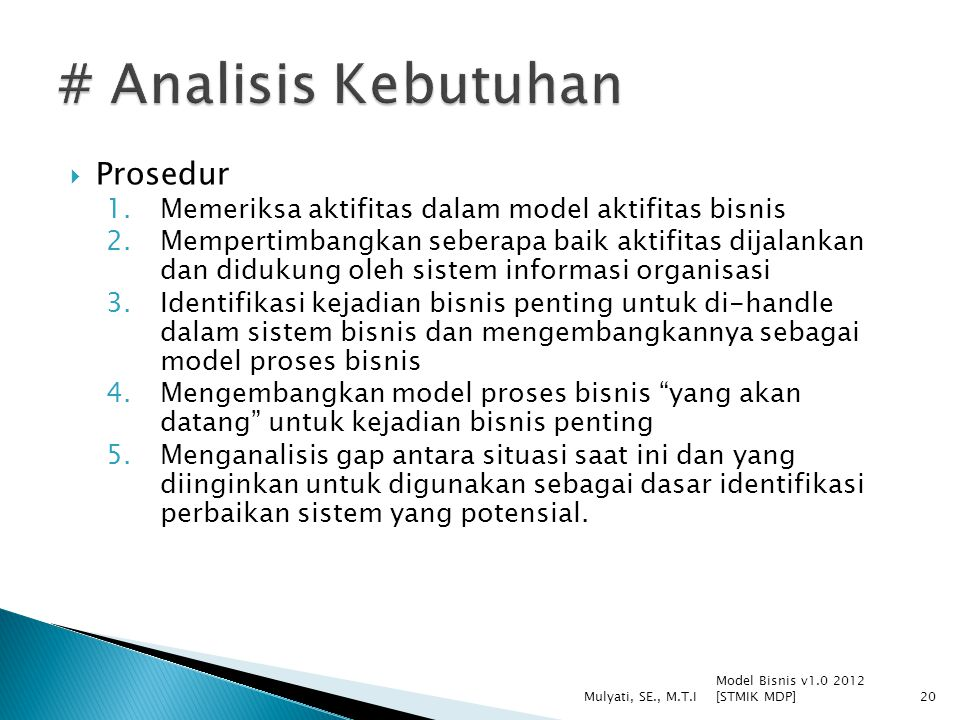 # Analisis Kebutuhan Prosedur