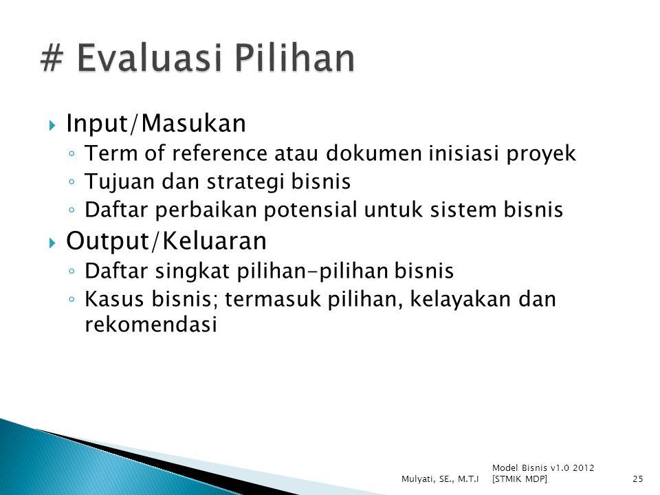 # Evaluasi Pilihan Input/Masukan Output/Keluaran
