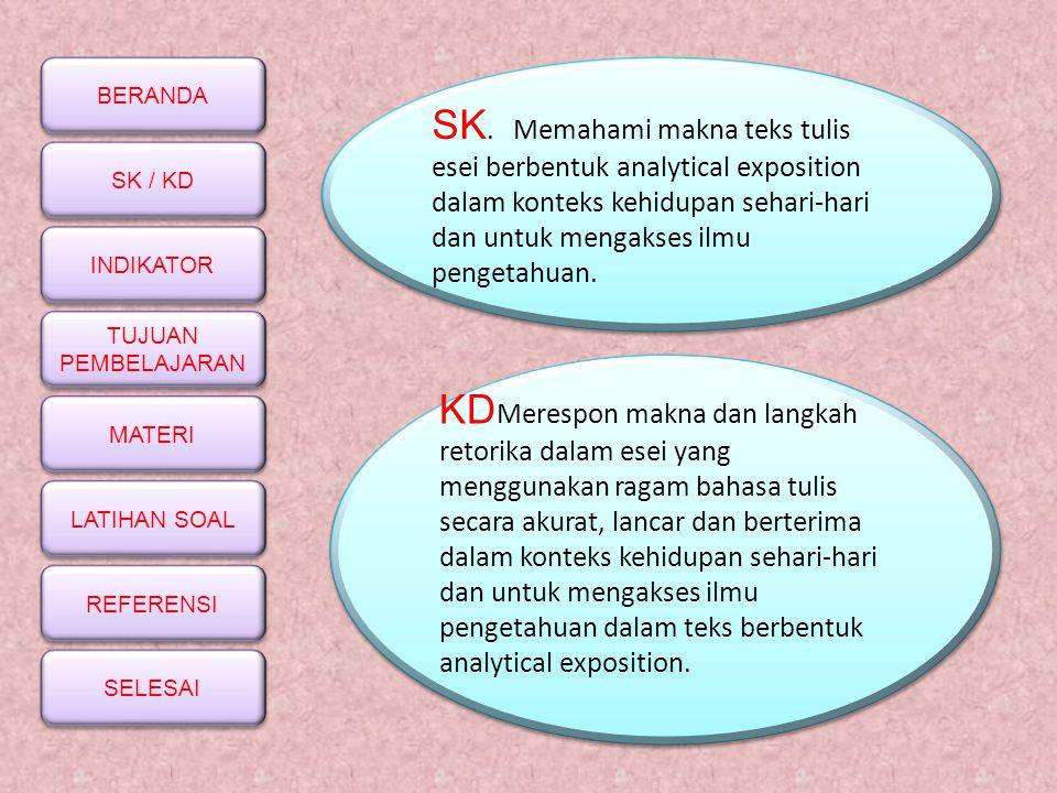 SK. Memahami makna teks tulis esei berbentuk analytical exposition dalam konteks kehidupan sehari-hari dan untuk mengakses ilmu pengetahuan.