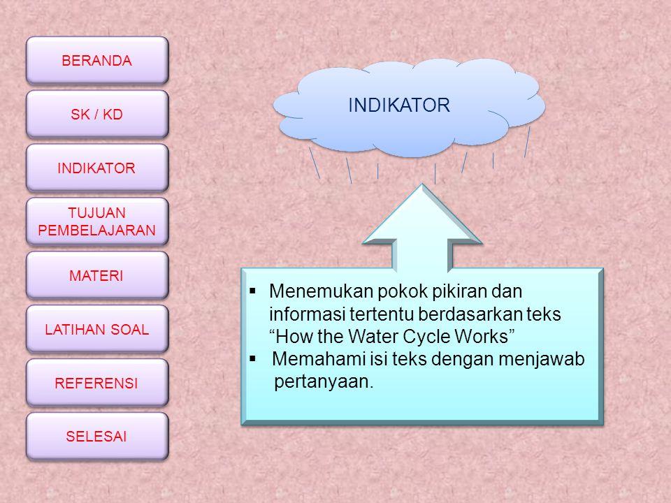 INDIKATOR Menemukan pokok pikiran dan. informasi tertentu berdasarkan teks. How the Water Cycle Works