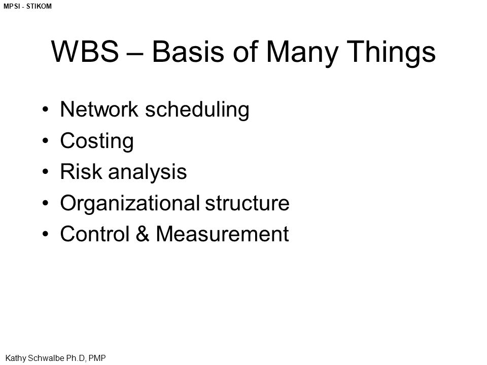 WBS – Basis of Many Things