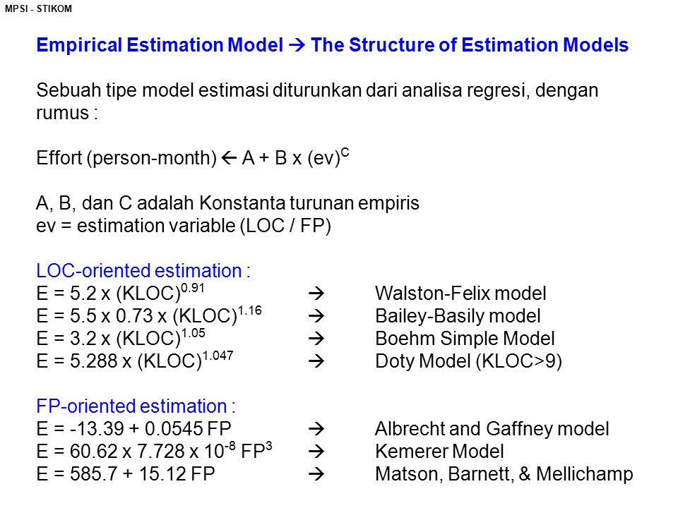 Empirical Estimation Model  The Structure of Estimation Models