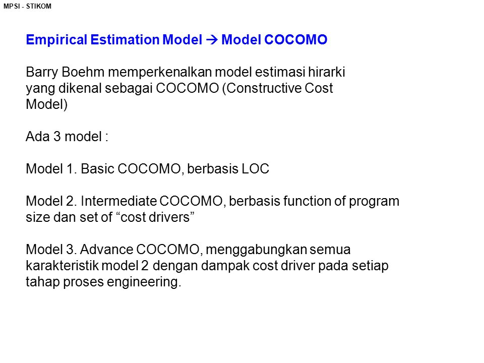 Empirical Estimation Model  Model COCOMO