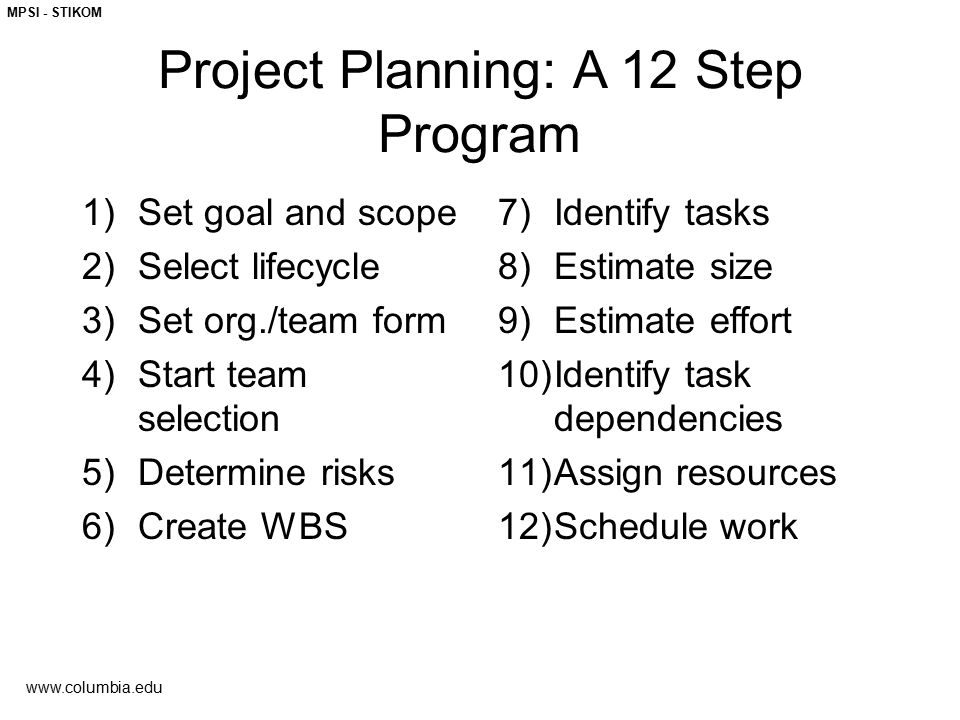 Project Planning: A 12 Step Program