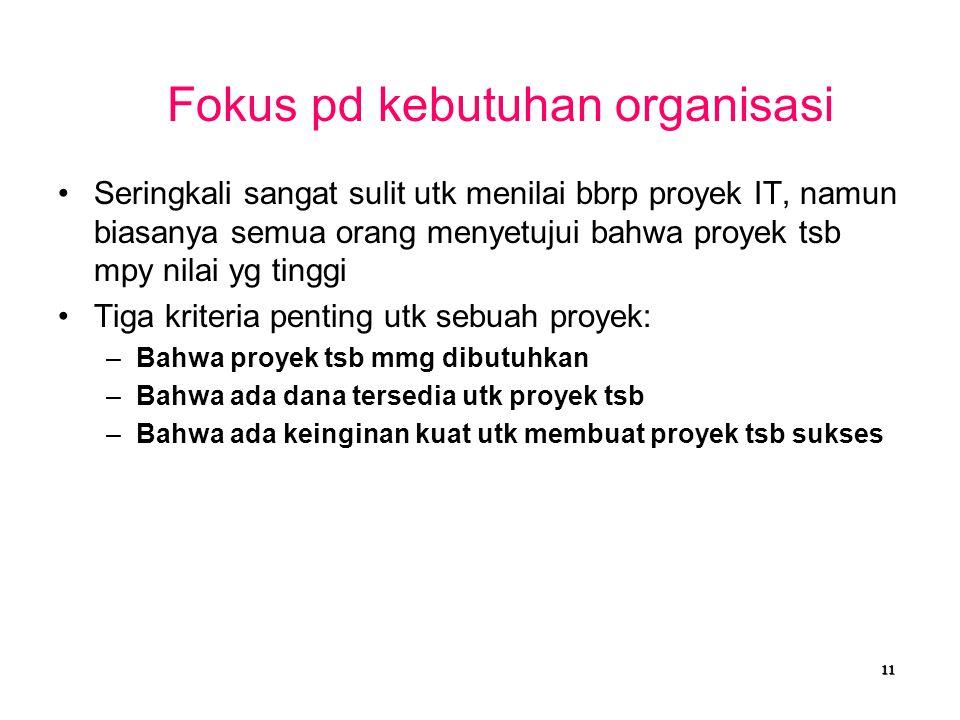 Fokus pd kebutuhan organisasi