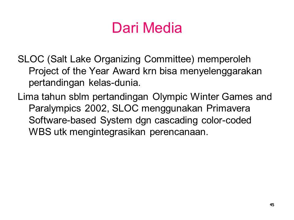 Dari Media SLOC (Salt Lake Organizing Committee) memperoleh Project of the Year Award krn bisa menyelenggarakan pertandingan kelas-dunia.