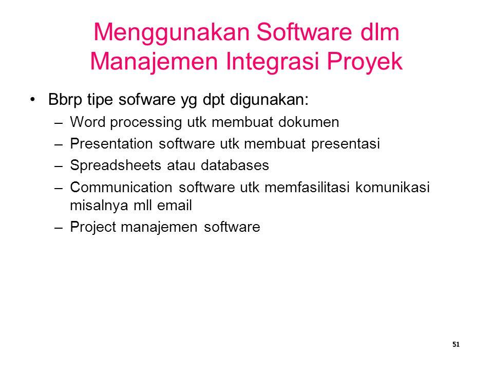 Menggunakan Software dlm Manajemen Integrasi Proyek