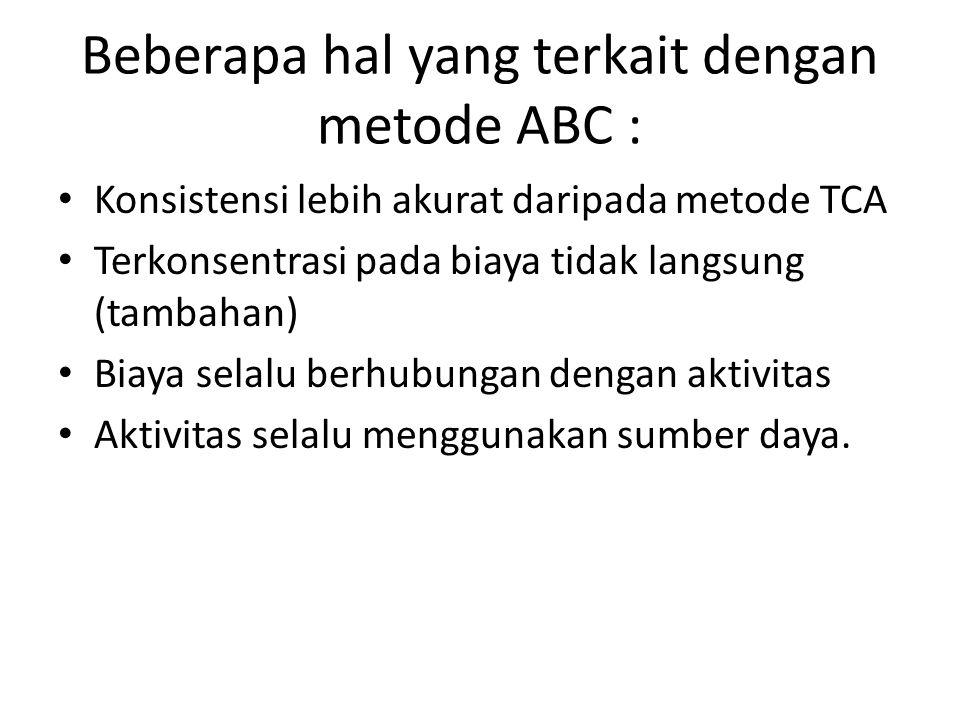 Beberapa hal yang terkait dengan metode ABC :