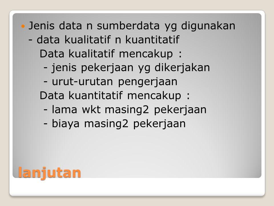 lanjutan Jenis data n sumberdata yg digunakan