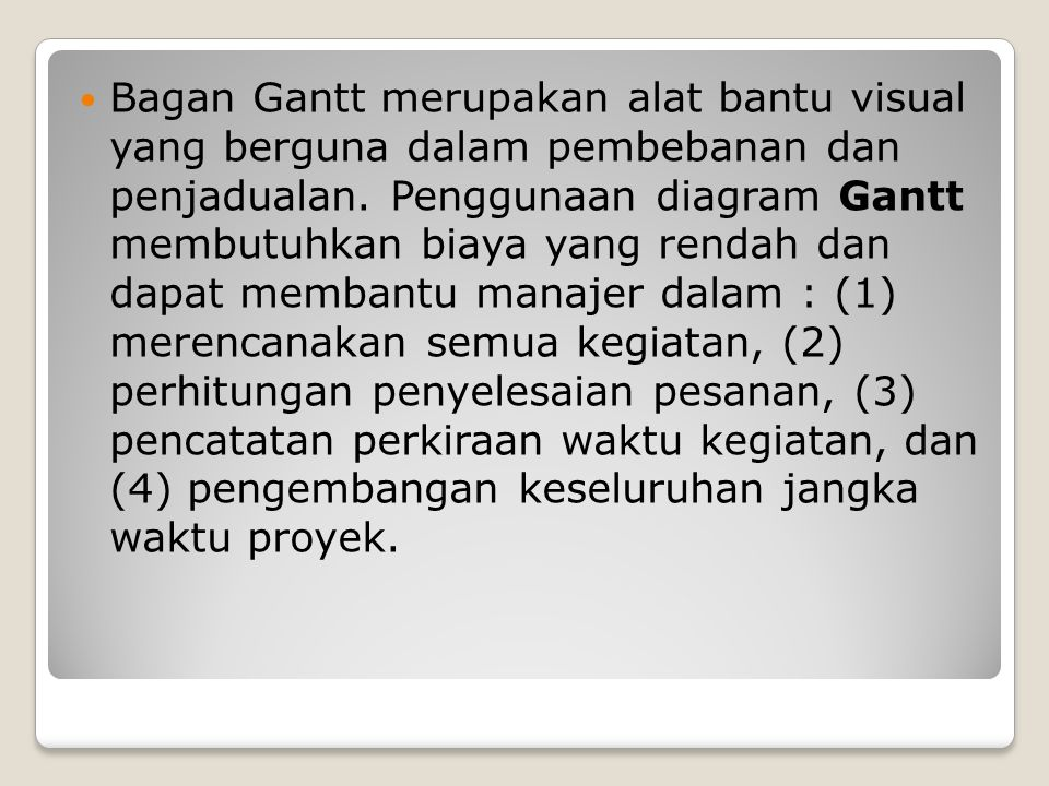 Bagan Gantt merupakan alat bantu visual yang berguna dalam pembebanan dan penjadualan.