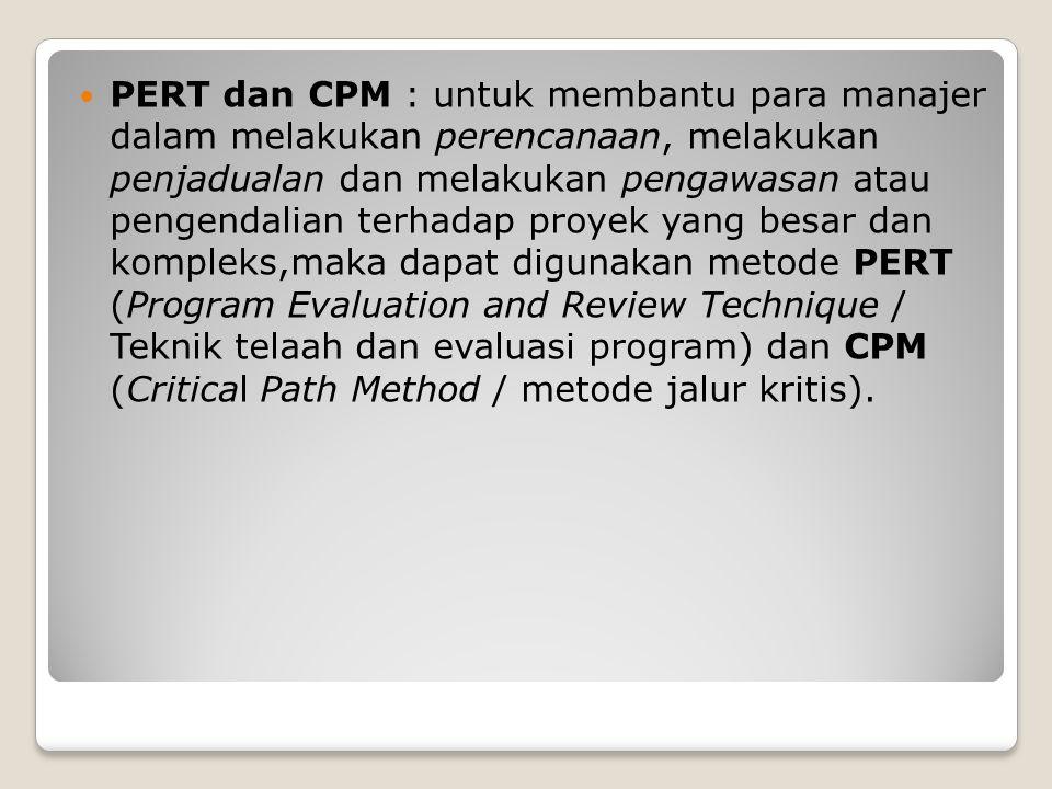 PERT dan CPM : untuk membantu para manajer dalam melakukan perencanaan, melakukan penjadualan dan melakukan pengawasan atau pengendalian terhadap proyek yang besar dan kompleks,maka dapat digunakan metode PERT (Program Evaluation and Review Technique / Teknik telaah dan evaluasi program) dan CPM (Critical Path Method / metode jalur kritis).