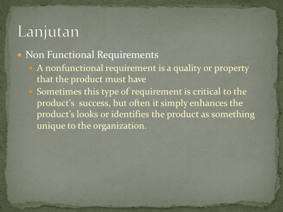 Lanjutan Non Functional Requirements