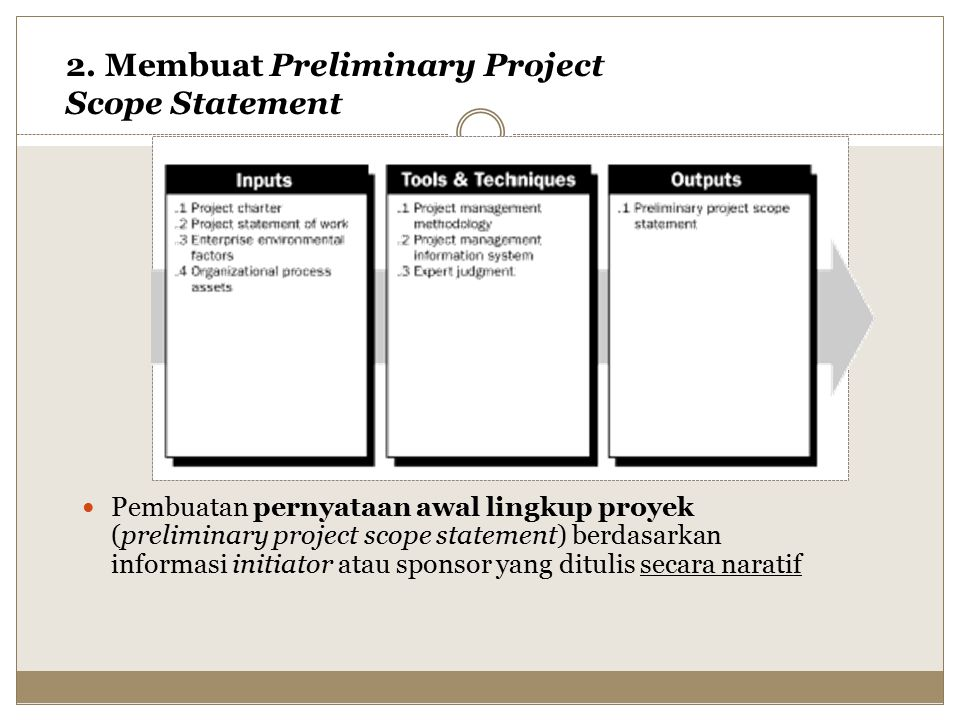 2. Membuat Preliminary Project Scope Statement