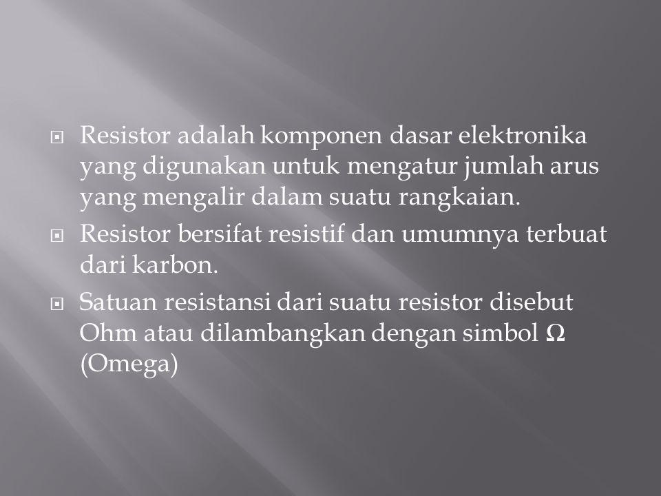 Resistor adalah komponen dasar elektronika yang digunakan untuk mengatur jumlah arus yang mengalir dalam suatu rangkaian.