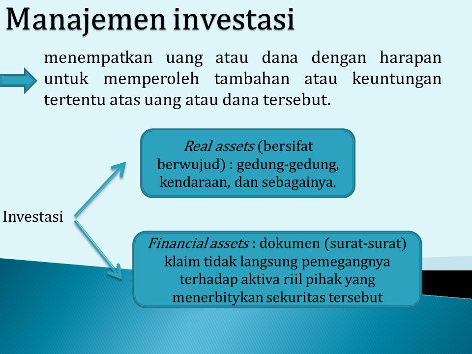 Manajemen investasi menempatkan uang atau dana dengan harapan untuk memperoleh tambahan atau keuntungan tertentu atas uang atau dana tersebut.