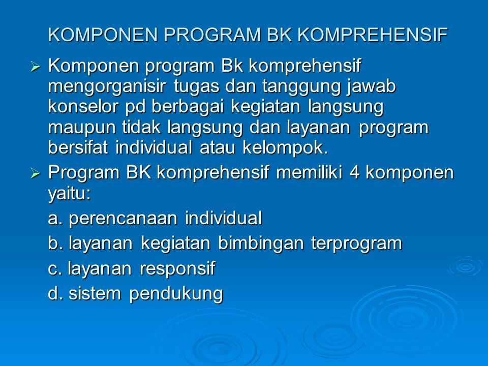 KOMPONEN PROGRAM BK KOMPREHENSIF