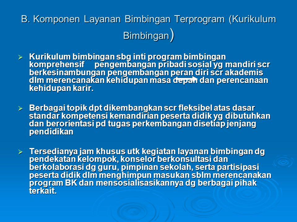 B. Komponen Layanan Bimbingan Terprogram (Kurikulum Bimbingan)