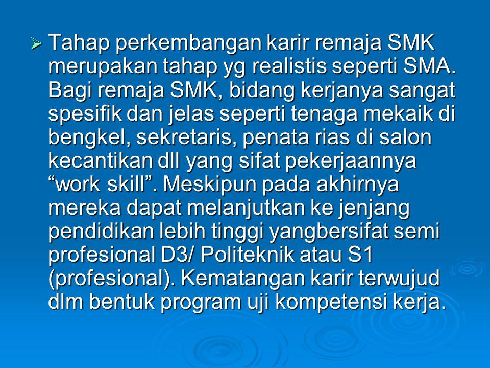 Tahap perkembangan karir remaja SMK merupakan tahap yg realistis seperti SMA.