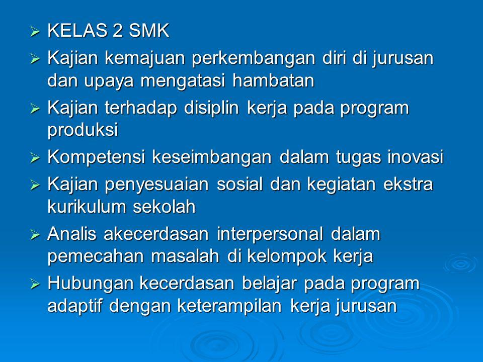 KELAS 2 SMK Kajian kemajuan perkembangan diri di jurusan dan upaya mengatasi hambatan. Kajian terhadap disiplin kerja pada program produksi.