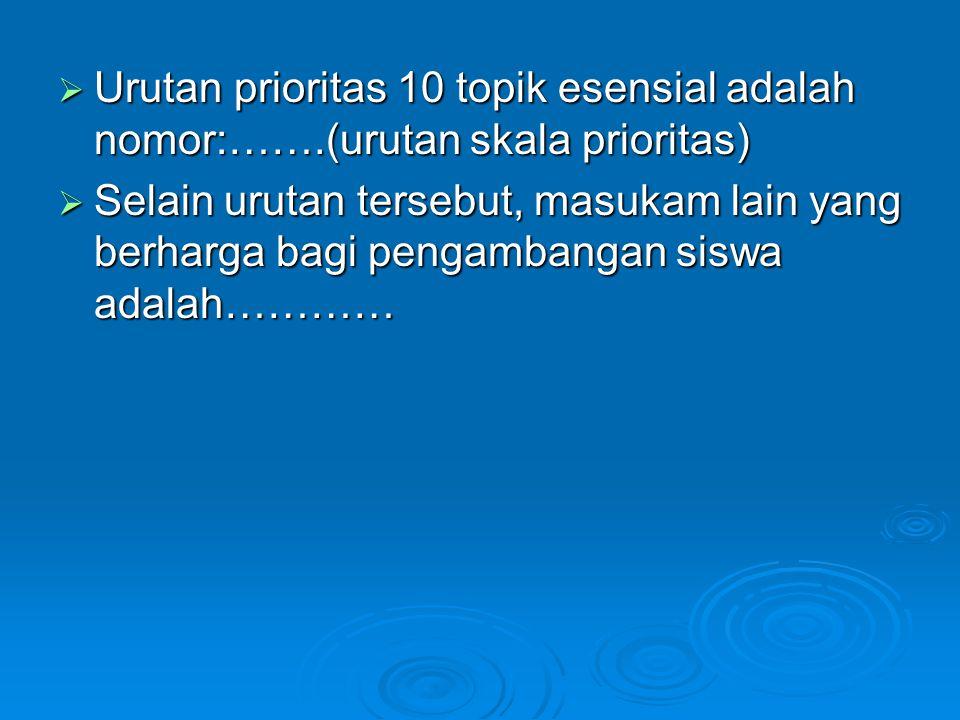 Urutan prioritas 10 topik esensial adalah nomor:……