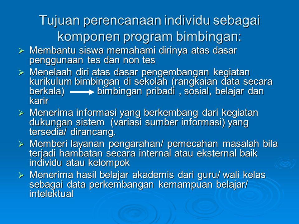 Tujuan perencanaan individu sebagai komponen program bimbingan: