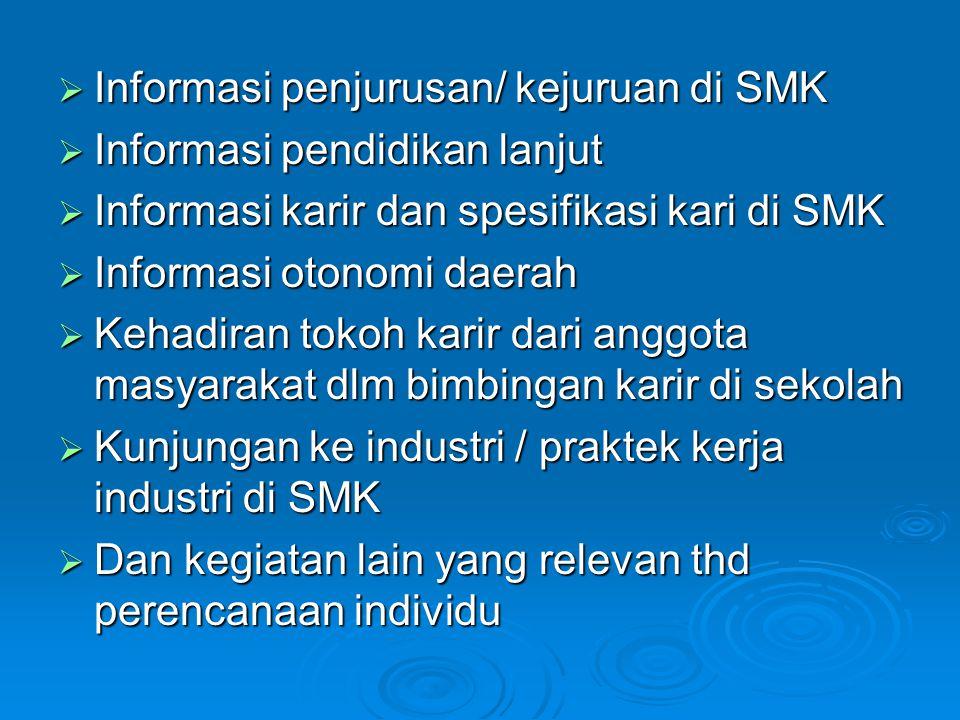 Informasi penjurusan/ kejuruan di SMK