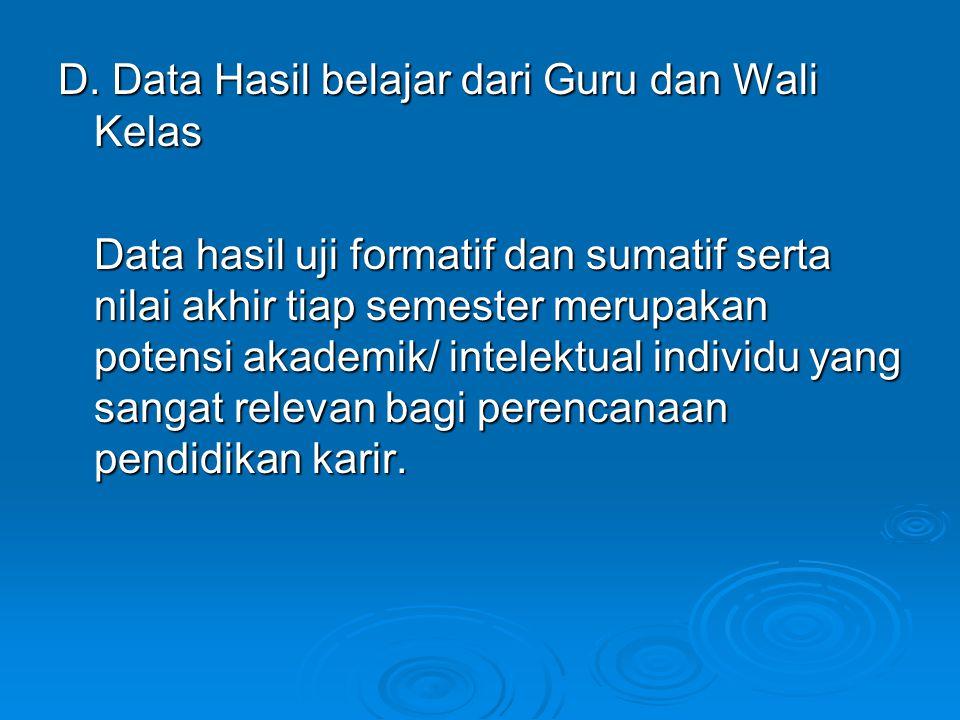 D. Data Hasil belajar dari Guru dan Wali Kelas