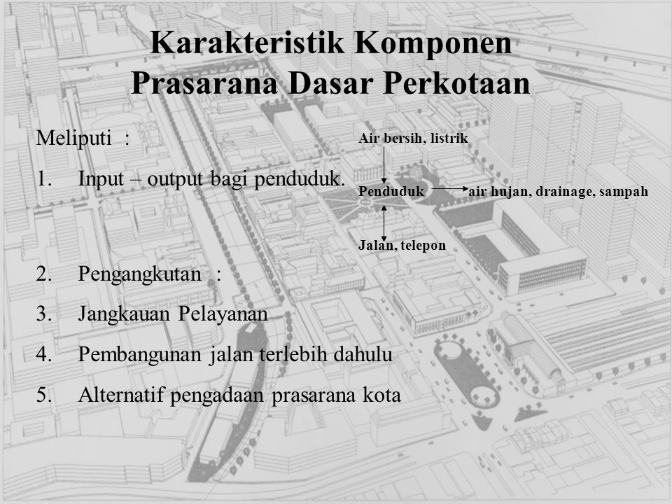Karakteristik Komponen Prasarana Dasar Perkotaan