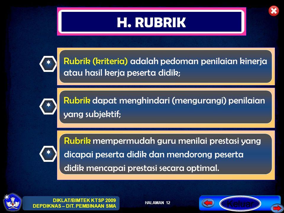 H. RUBRIK Rubrik (kriteria) adalah pedoman penilaian kinerja *