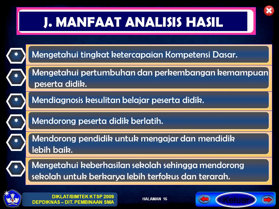 J. MANFAAT ANALISIS HASIL