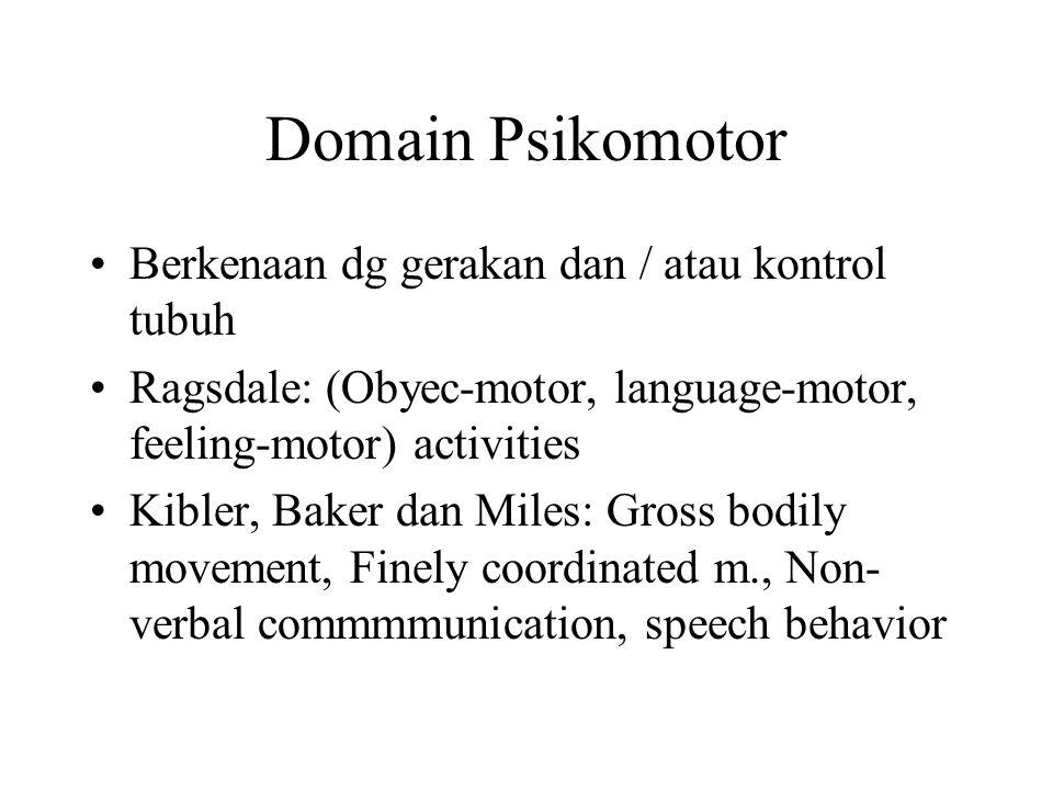 Domain Psikomotor Berkenaan dg gerakan dan / atau kontrol tubuh