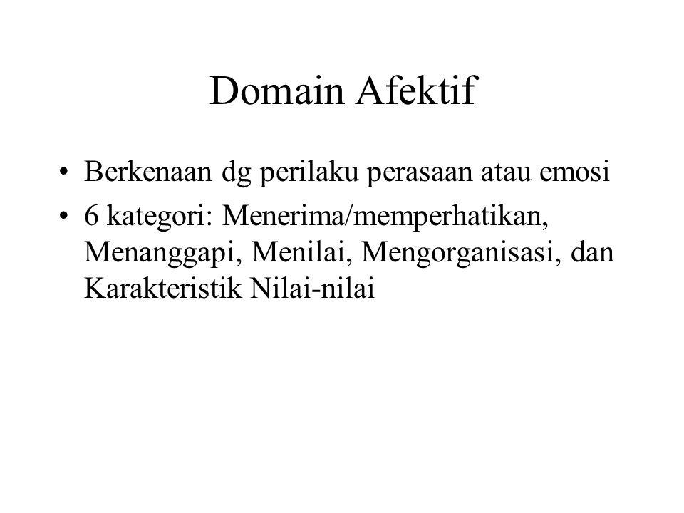 Domain Afektif Berkenaan dg perilaku perasaan atau emosi