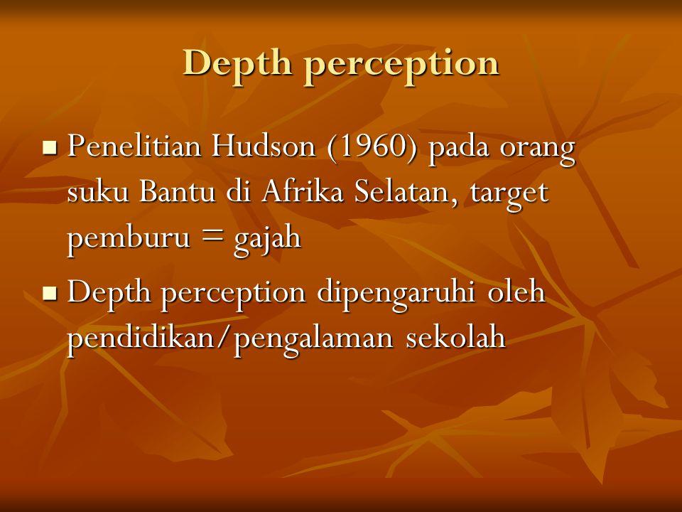 Depth perception Penelitian Hudson (1960) pada orang suku Bantu di Afrika Selatan, target pemburu = gajah.