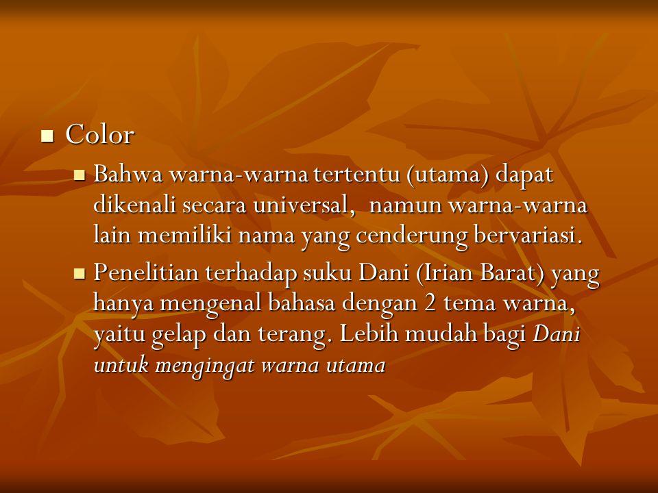 Color Bahwa warna-warna tertentu (utama) dapat dikenali secara universal, namun warna-warna lain memiliki nama yang cenderung bervariasi.