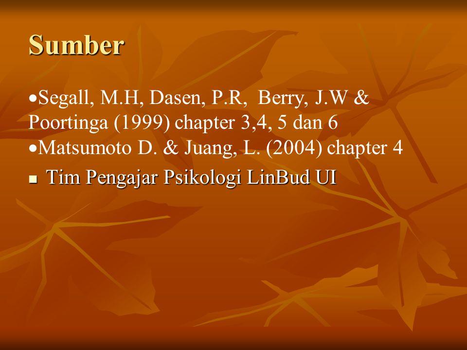 Sumber Segall, M.H, Dasen, P.R, Berry, J.W & Poortinga (1999) chapter 3,4, 5 dan 6. Matsumoto D. & Juang, L. (2004) chapter 4.