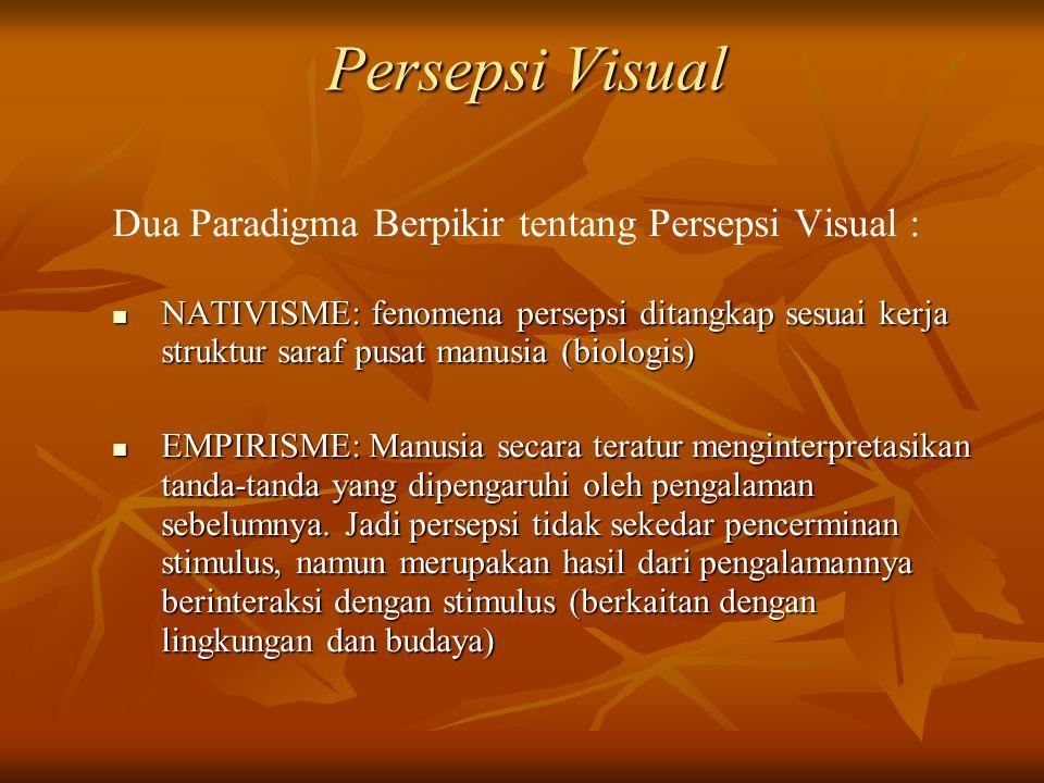 Persepsi Visual Dua Paradigma Berpikir tentang Persepsi Visual :