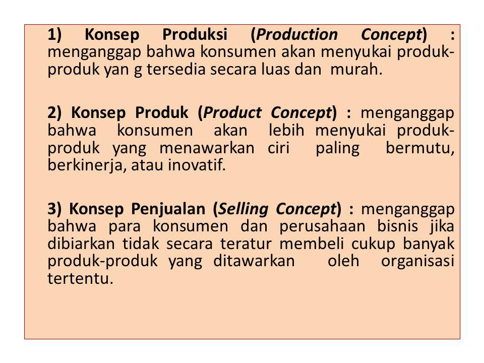 1) Konsep Produksi (Production Concept) : menganggap bahwa konsumen akan menyukai produk-produk yan g tersedia secara luas dan murah.