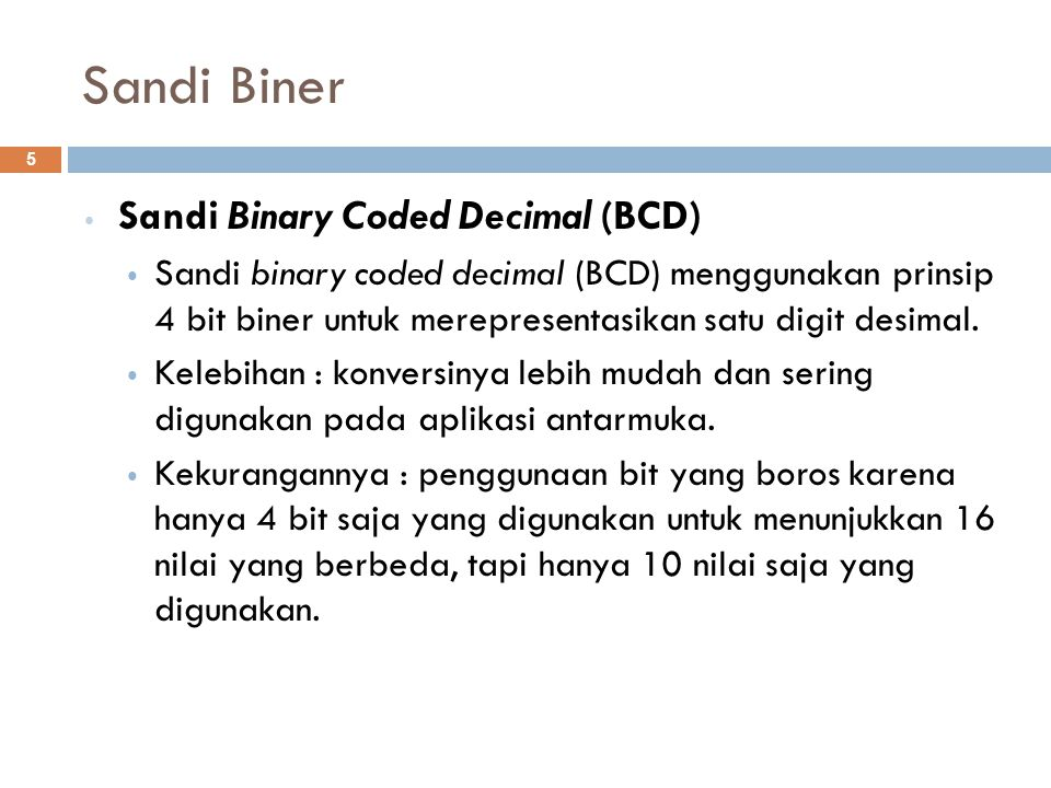 Sandi Biner Sandi Binary Coded Decimal (BCD)
