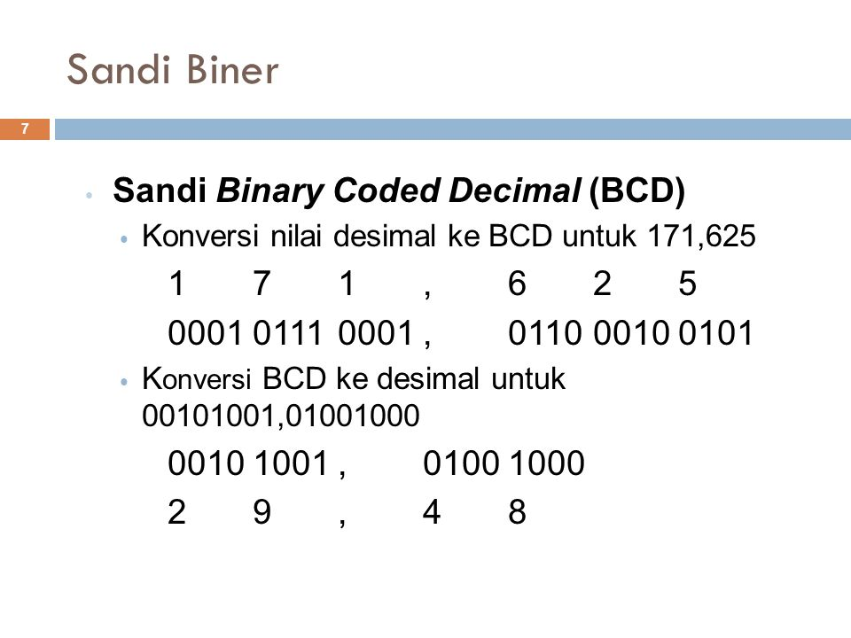 Sandi Biner Sandi Binary Coded Decimal (BCD) 1 7 1 , 6 2 5