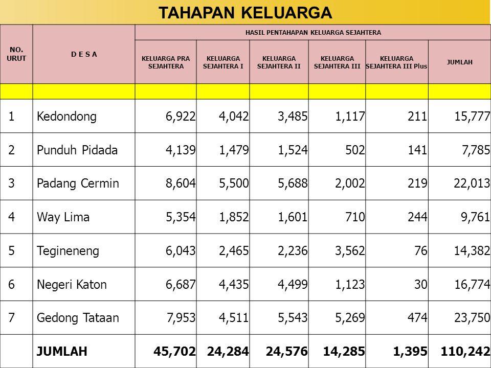 TAHAPAN KELUARGA 1 Kedondong 6,922 4,042 3,485 1,117 211 15,777 2