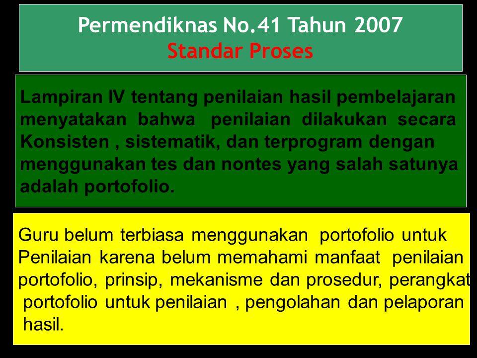 Permendiknas No.41 Tahun 2007 Standar Proses