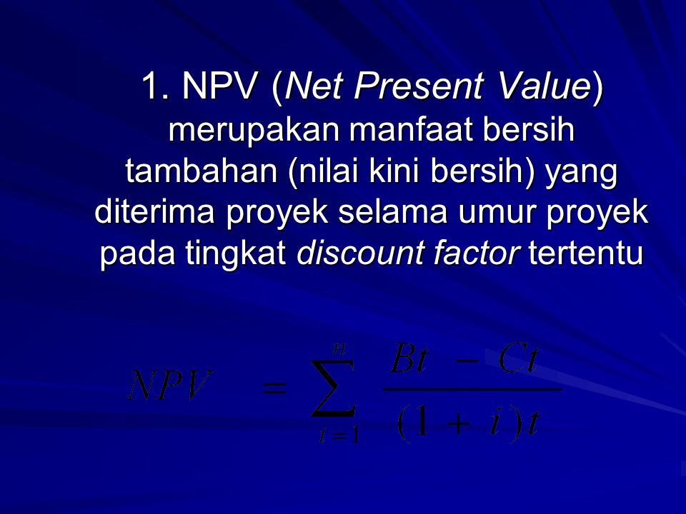 NPV (Net Present Value) 1