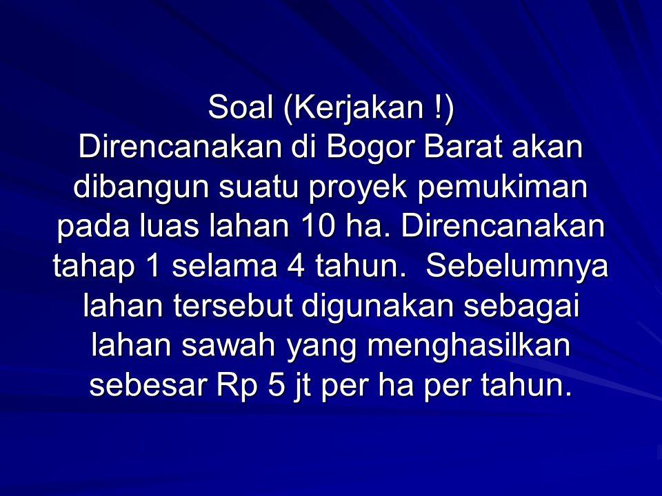 Soal (Kerjakan !) Direncanakan di Bogor Barat akan dibangun suatu proyek pemukiman pada luas lahan 10 ha.