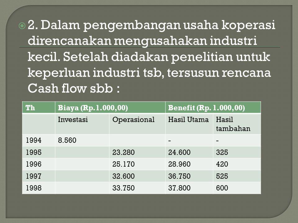 2. Dalam pengembangan usaha koperasi direncanakan mengusahakan industri kecil. Setelah diadakan penelitian untuk keperluan industri tsb, tersusun rencana Cash flow sbb :