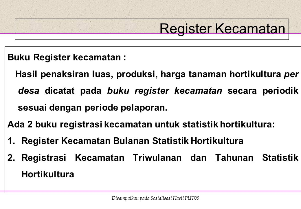 Register Kecamatan Buku Register kecamatan :