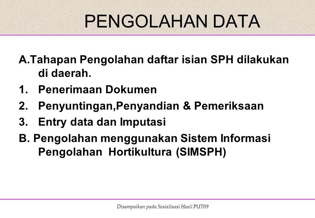 PENGOLAHAN DATA A.Tahapan Pengolahan daftar isian SPH dilakukan di daerah. Penerimaan Dokumen. Penyuntingan,Penyandian & Pemeriksaan.