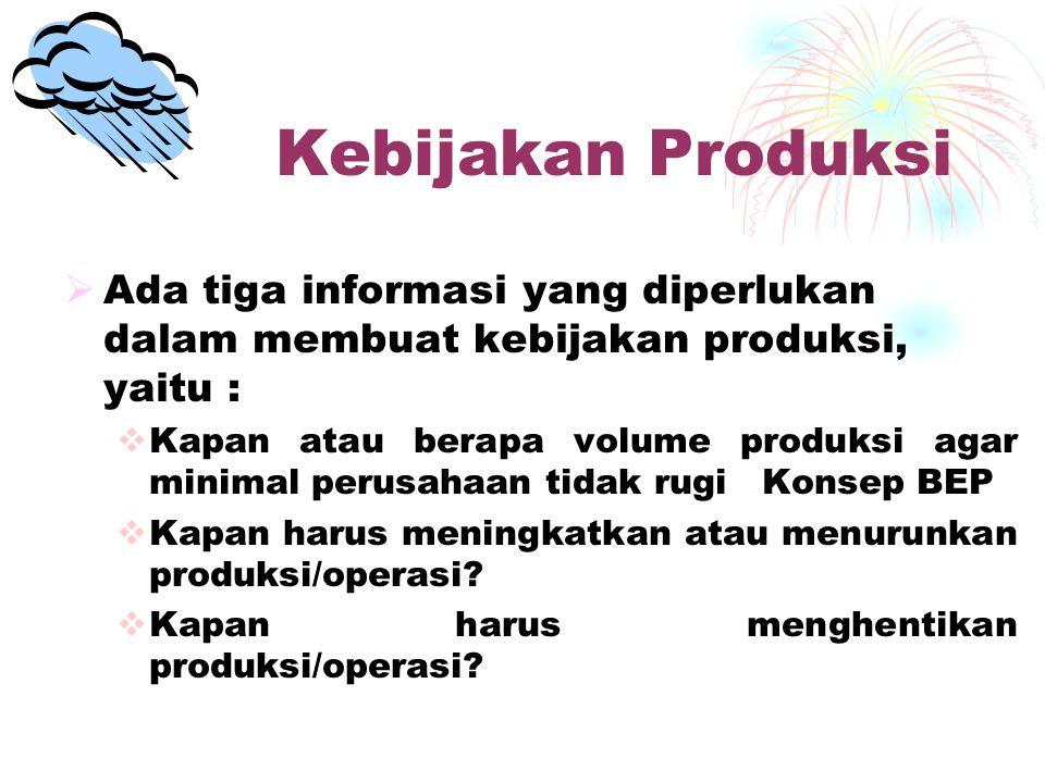 Kebijakan Produksi Ada tiga informasi yang diperlukan dalam membuat kebijakan produksi, yaitu :