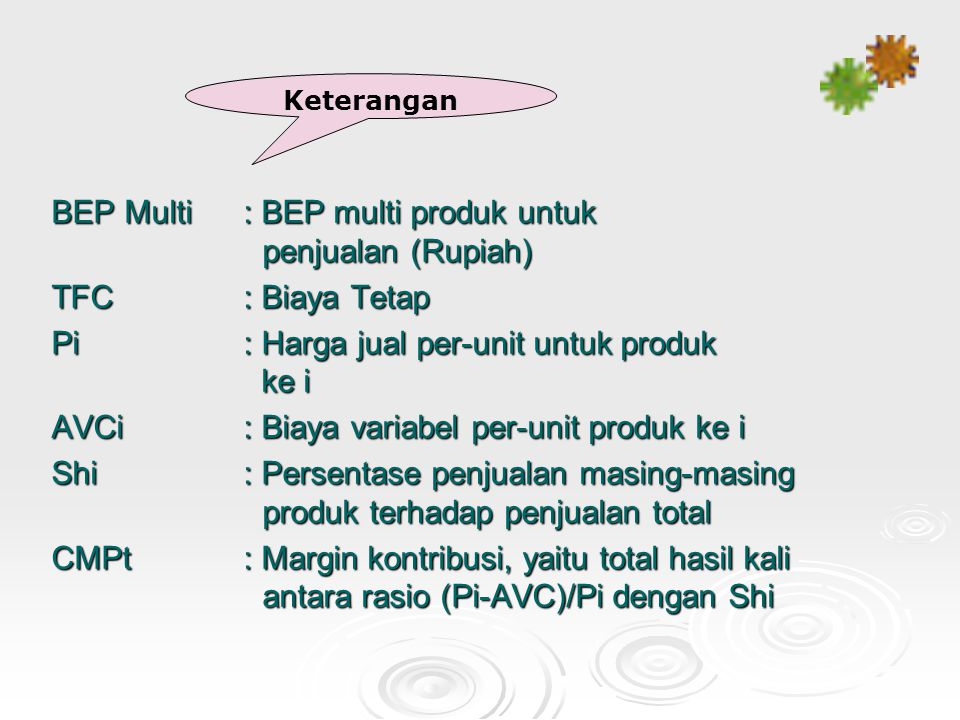 BEP Multi : BEP multi produk untuk penjualan (Rupiah)